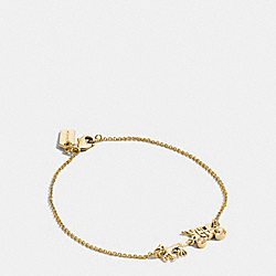 PAVE HORSE AND CARRIAGE CHAIN BRACELET - GOLD - COACH F90821