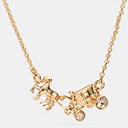PAVE HORSE AND CARRIAGE NECKLACE - f90822 - GOLD