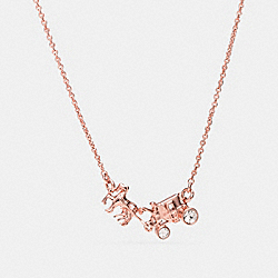 HORSE AND CARRIAGE NECKLACE - f90822 - ROSEGOLD