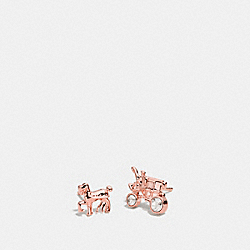 PAVE HORSE AND CARRIAGE STUD EARRINGS - f90823 - ROSEGOLD