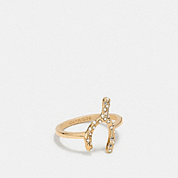 PAVE WISHBONE RING - f90827 - GOLD