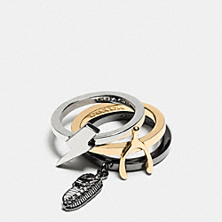 PAVE WISHBONE MIX STACKED RING - GOLD/MULTICOLOR - COACH F90832