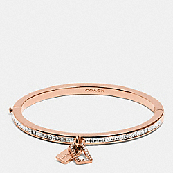 COACH BOXED PAVE MULTI HANGTAG HINGED BANGLE - ROSEGOLD - F90837