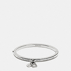 COACH BOXED PAVE MULTI HANGTAG HINGED BANGLE - SILVER/CLEAR - F90837