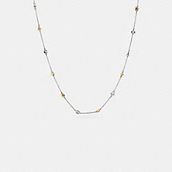 PAVE COACH RIVET NECKLACE - f90864 - SILVER/GOLD