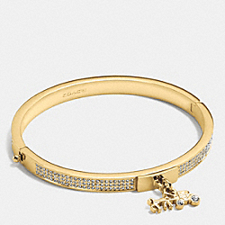 PAVE HORSE AND CARRIAGE HINGED BANGLE - f90868 - GOLD