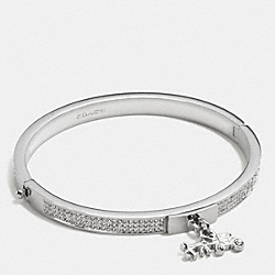 COACH PAVE HORSE AND CARRIAGE HINGED BANGLE - SILVER/CLEAR - F90868