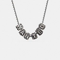 WANTED BLOCK LETTERS NECKLACE - SILVER - COACH F90878