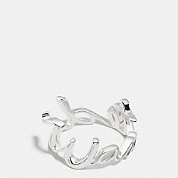 STERLING WANTED SCRIPT RING - SILVER/SILVER - COACH F90887