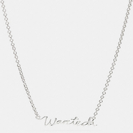 COACH STERLING WANTED SCRIPT NECKLACE - SILVER/SILVER - f90898