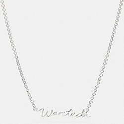 STERLING WANTED SCRIPT NECKLACE - f90898 - SILVER/SILVER