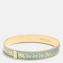 HORSE AND CARRIAGE ENAMEL BANGLE - GOLD/SEAGLASS - COACH F90912