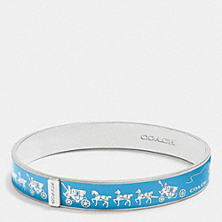 HORSE AND CARRIAGE ENAMEL BANGLE - SILVER/AZURE - COACH F90912