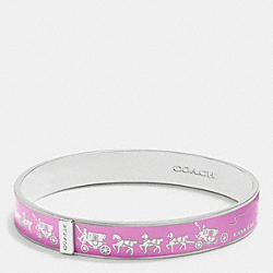 HORSE AND CARRIAGE ENAMEL BANGLE - f90912 - SILVER/WILDFLOWER