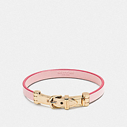 COACH LEATHER BUCKLE BRACELET - GOLD/PETAL - F90914