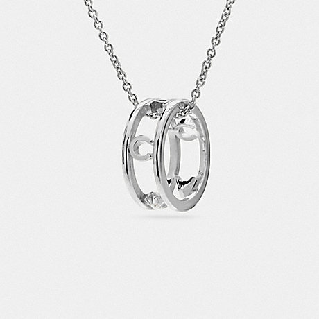 COACH f90918 PAVE COACH RING NECKLACE SILVER/BLACK