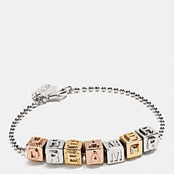 DREAMER BLOCK LETTERS BRACELET - MIXED METAL - COACH F90926