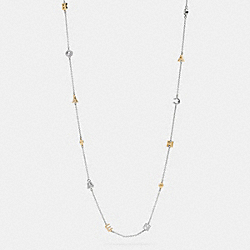 COACH LONG PAVE COACH RIVET NECKLACE - GOLD/SILVER - F90927