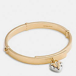 PADLOCK HEART HINGED BANGLE - f90936 - SILVER/GOLD