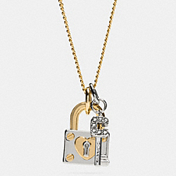LONG PADLOCK HEART AND KEY NECKLACE - f90937 - SILVER/GOLD
