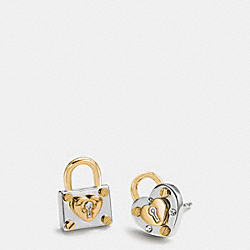 COACH PADLOCK HEART STUD EARRINGS - SILVER/GOLD - F90946