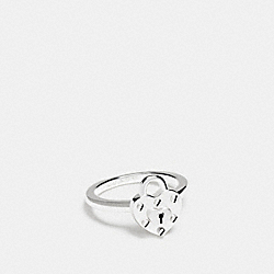 STERLING SILVER HEART LOCK RING - SILVER/SILVER - COACH F90947