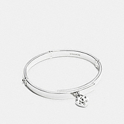 STERLING SILVER HEART LOCK HINGED BANGLE - f90956 - SILVER/SILVER