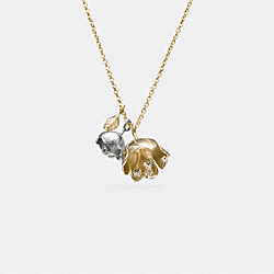 SHORT TEA ROSE NECKLACE - SILVER/GOLD - COACH F90959