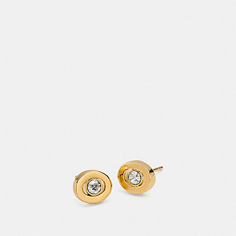 COACH f90981 PAVE STUD EARRINGS GOLD