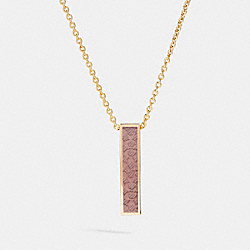 COACH ENAMEL SIGNATURE C CHARM NECKLACE - GOLD/PETAL - F90994