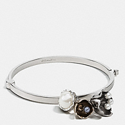 COACH TEA ROSE PEARL CHARM BANGLE - SILVER/GOLD - F90995