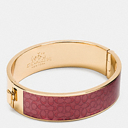ENAMEL SIGNATURE WIDE HINGED BANGLE - GOLD/DAHLIA - COACH F90996