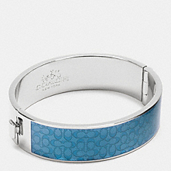 ENAMEL SIGNATURE WIDE HINGED BANGLE - f90996 - SILVER/AZURE