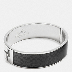 ENAMEL SIGNATURE WIDE HINGED BANGLE - f90996 - SILVER/BLACK