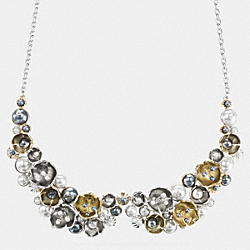 COACH TEA ROSE PEARL NECKLACE - SILVER/GOLD - F91000