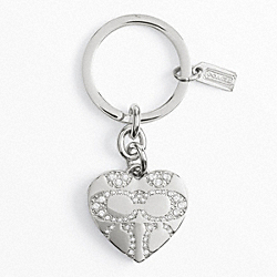 PAVE SIGNATURE C HEART LOCKET KEY RING COACH F92416