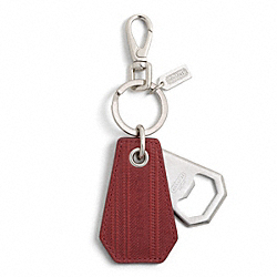 COACH TICKING STRIPE BOTTLE OPENER KEY RING - ONE COLOR - F92997