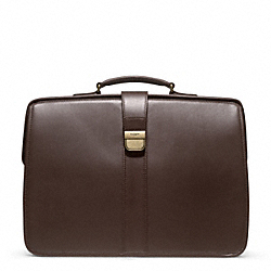 CROSBY LUX LEATHER DIPLOMAT BRIEF - BRASS/JAVA - COACH F93220