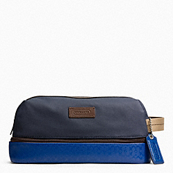 COACH HERITAGE SIGNATURE EMBOSSED PVC CANVAS TRAVEL KIT - SILVER/NAVY/COBALT - F93228