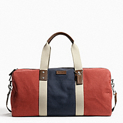 COACH HERITAGE WEB CANVAS PIECED STRIPE ROLL DUFFLE - SILVER/RED/NAVY - F93234