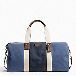 COACH HERITAGE WEB CANVAS PIECED STRIPE ROLL DUFFLE - SILVER/DENIM/NAVY - F93234