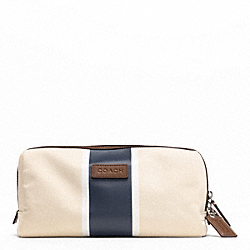 COACH HERITAGE WEB CANVAS PRINTED STRIPE TRAVEL KIT - SILVER/NATURAL/NAVY - F93237