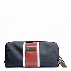 COACH HERITAGE WEB CANVAS PRINTED STRIPE TRAVEL KIT - SILVER/NAVY/RED - F93237