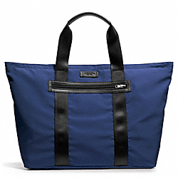 COACH VARICK PACKABLE WEEKEND TOTE IN NYLON - GUNMETAL/MARINE - F93314