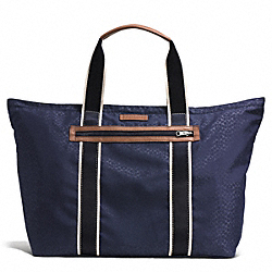 COACH VARICK NYLON PACKABLE WEEKEND TOTE - GUNMETAL/NAVY MULTI - F93314