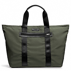 COACH VARICK PACKABLE WEEKEND TOTE IN NYLON - GUNMETAL/OLIVE - F93314