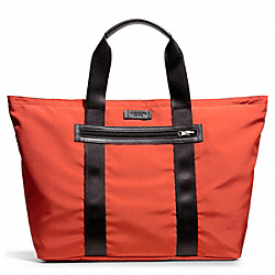 COACH VARICK PACKABLE WEEKEND TOTE IN NYLON - GUNMETAL/ORANGE - F93314