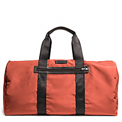 COACH VARICK NYLON PACKABLE DUFFLE - GUNMETAL/ORANGE - F93342