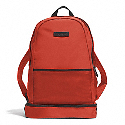 COACH VARICK NYLON PACKABLE DAYPACK - GUNMETAL/ORANGE - F93372