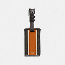 COACH HERITAGE CHECK LUGGAGE TAG - f93395 - ESPRESSO/ORANGE